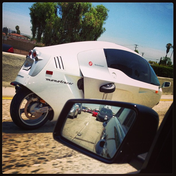 Instagram by popstar_mimi:  I don't mean to alarm you, but George Jetson is on the 5 Southbound Freeway #whatIsThatThing